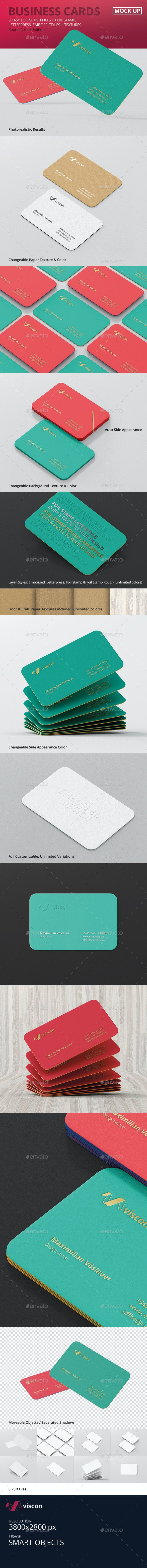 Business Card Mockup Round Corners - Business Cards Print