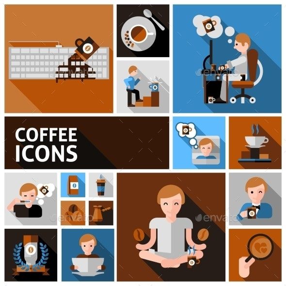 Coffee Icons Set - Food Objects