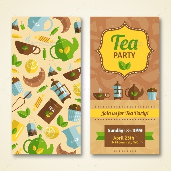 Tea Party Announcement 2 Vertical Banners - Food Objects