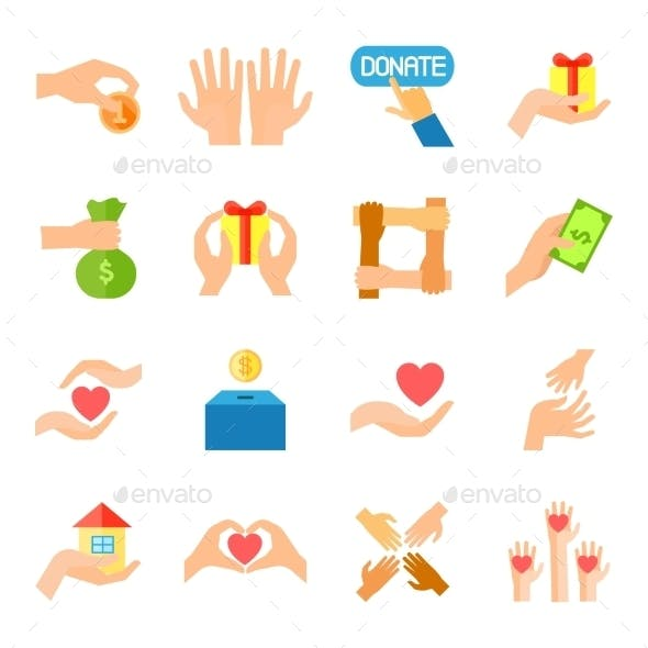 Donate And Giving Icon Set