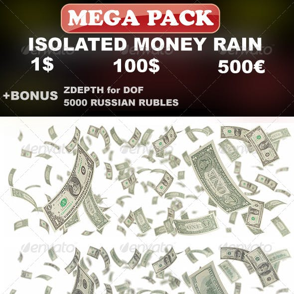 Isolated Money Rain Mega-Pack (1$, 100$, 500€)