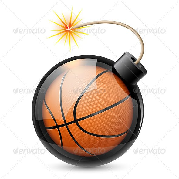 Abstract Basketball Shaped Like a Bomb