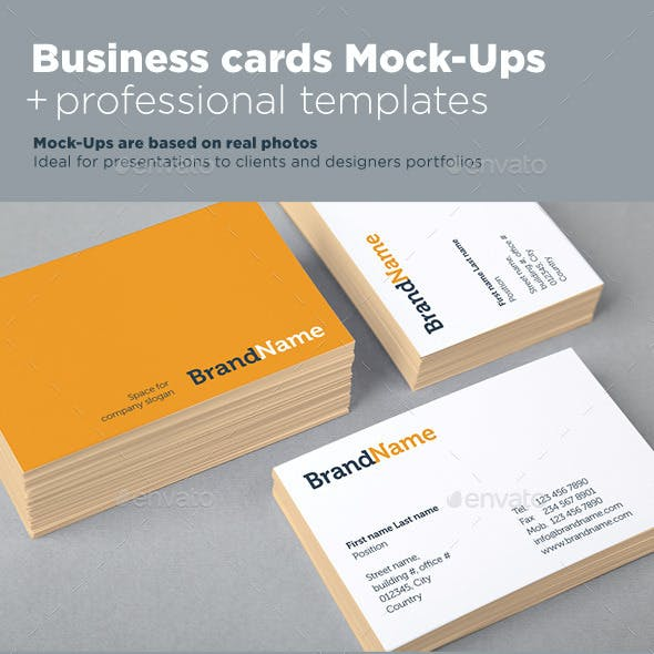 Business Cards Mock-Ups + Template