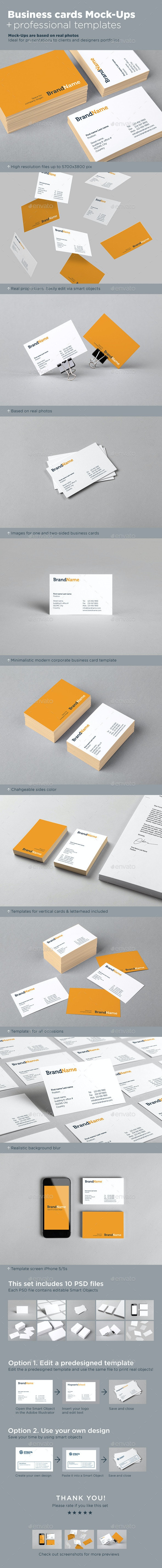 Business Cards Mock-Ups + Template - Business Cards Print