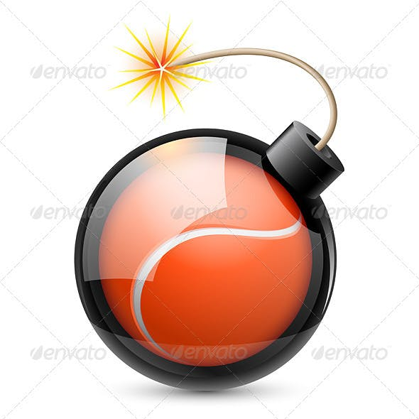Abstract Tennis Ball Shaped Like a Bomb