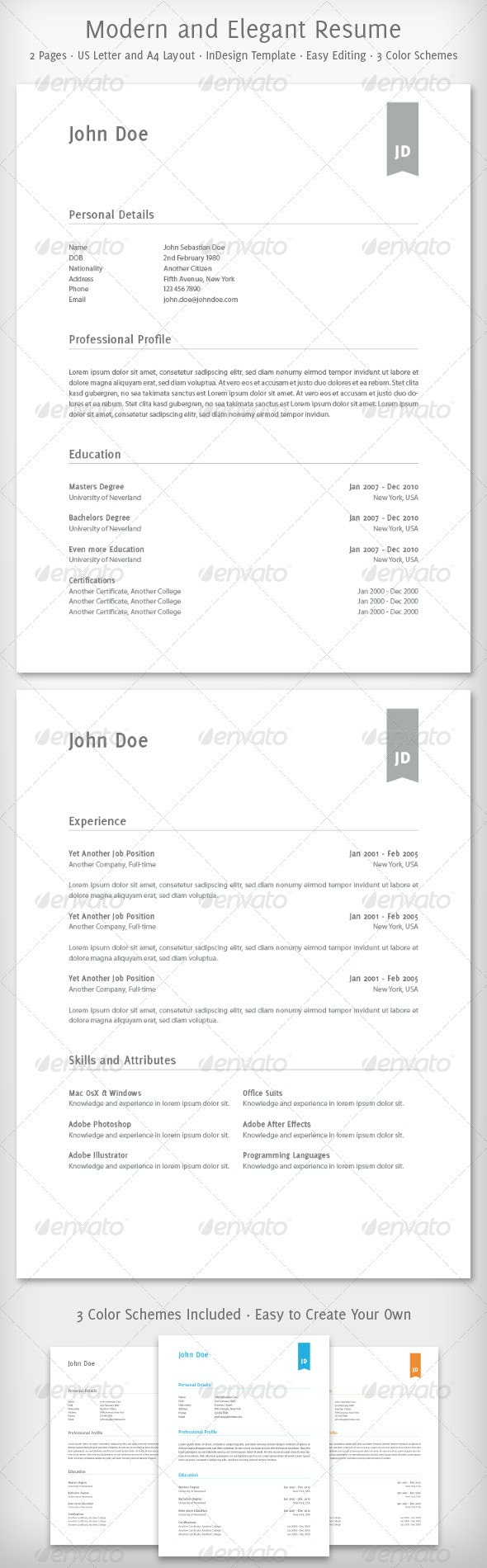 Modern and Elegant Resume - Resumes Stationery