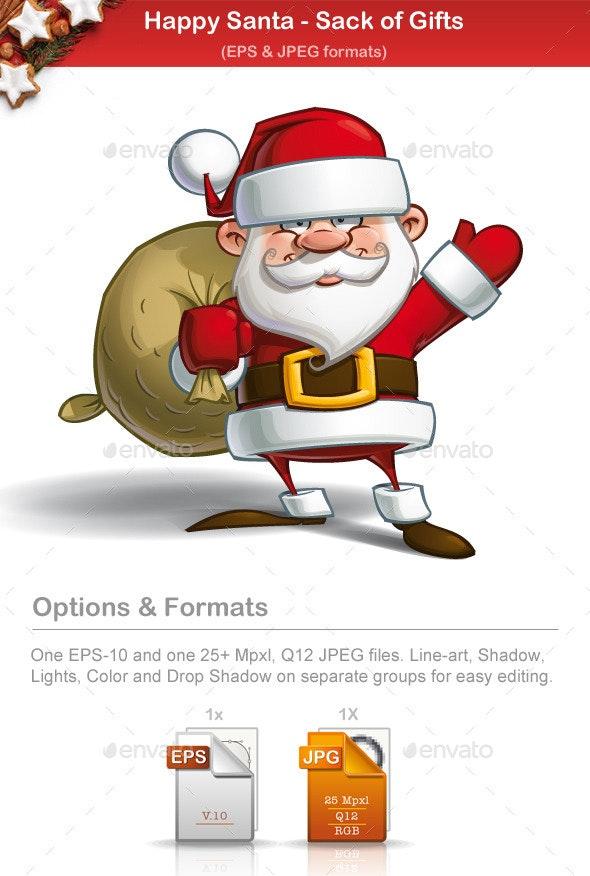 Happy Santa - Sack of Gifts - Christmas Seasons/Holidays