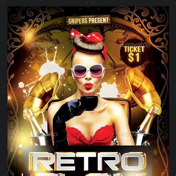 Retro Glam Party Flyer