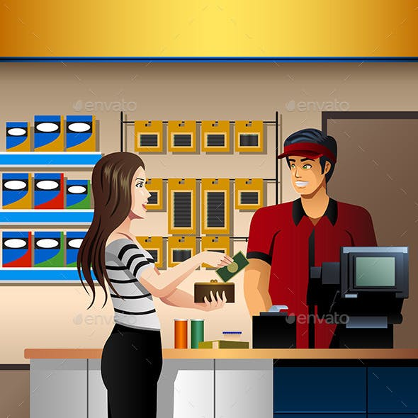 Woman Paying the Cashier at the Store