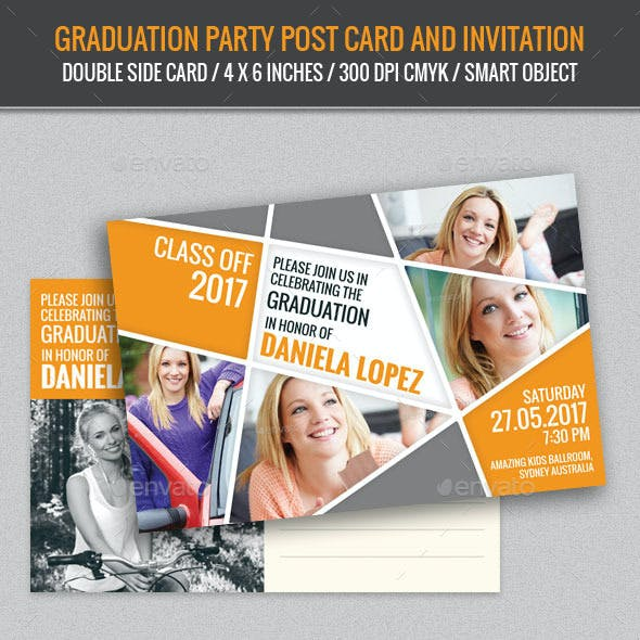 Graduation Party Post Card Template
