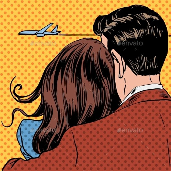 Loving Couple Looking At a Plane Taking Off