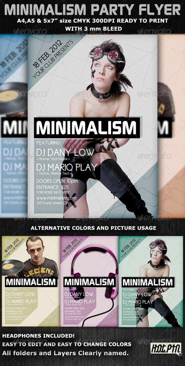 Minimalism Club Party Flyer Template - Clubs & Parties Events