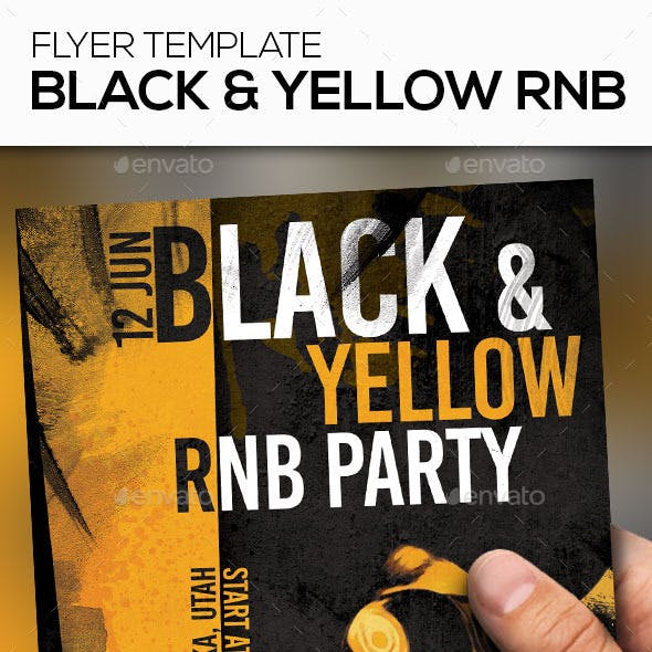 Black and Yellow RNB Party Flyer Template