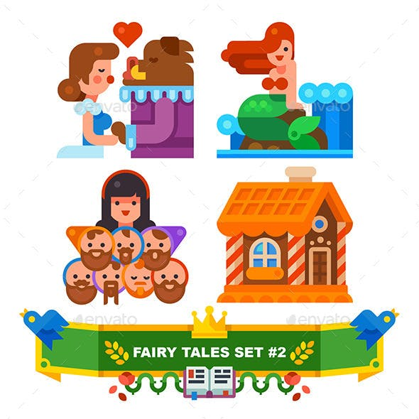Fairy Tales Set of Flat Illustrations