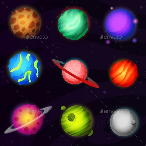 Set of 9 Colorful Planets