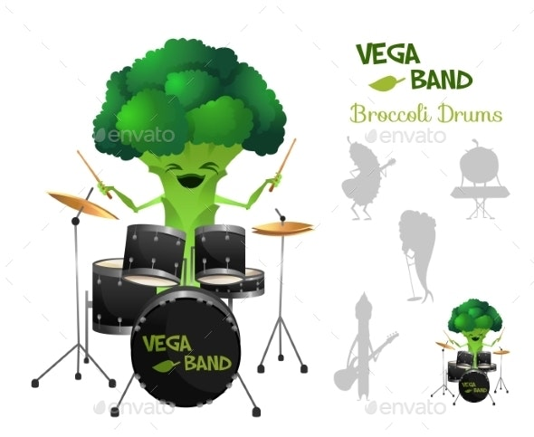 Brocolli Playing Drums with Band - Miscellaneous Characters