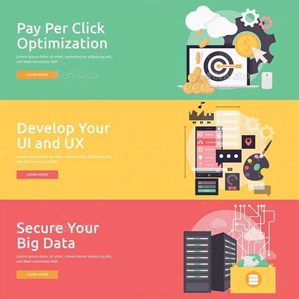 Flat Concept Banners for SEO 3