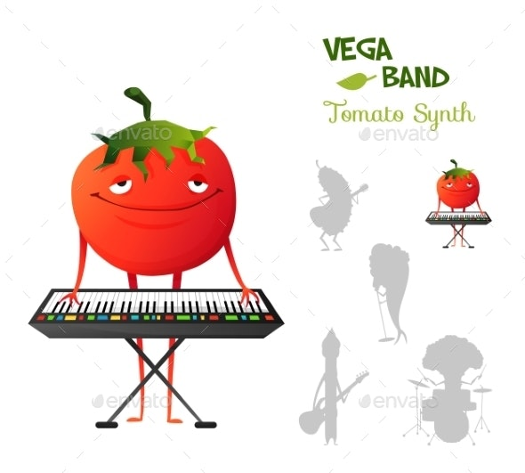 Smiley Tomato Playing Synth - Miscellaneous Characters