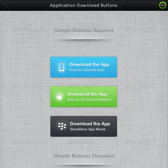 Application Download Buttons + Social Buttons