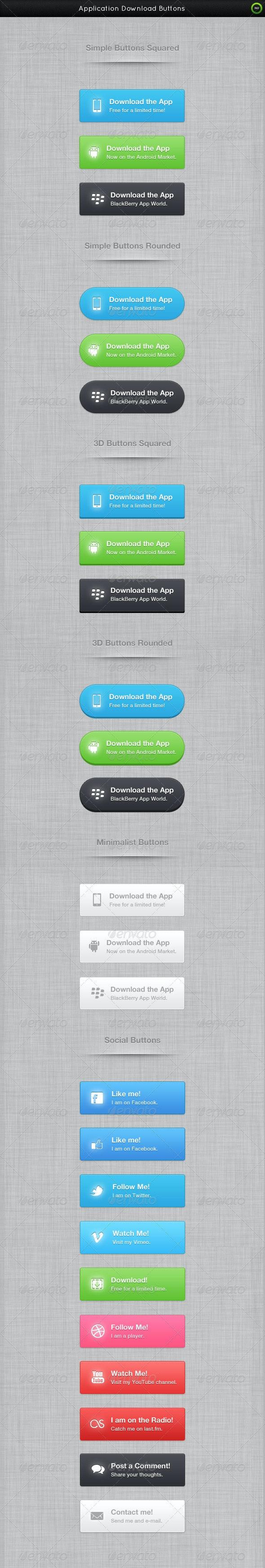 Application Download Buttons + Social Buttons - Buttons Web Elements
