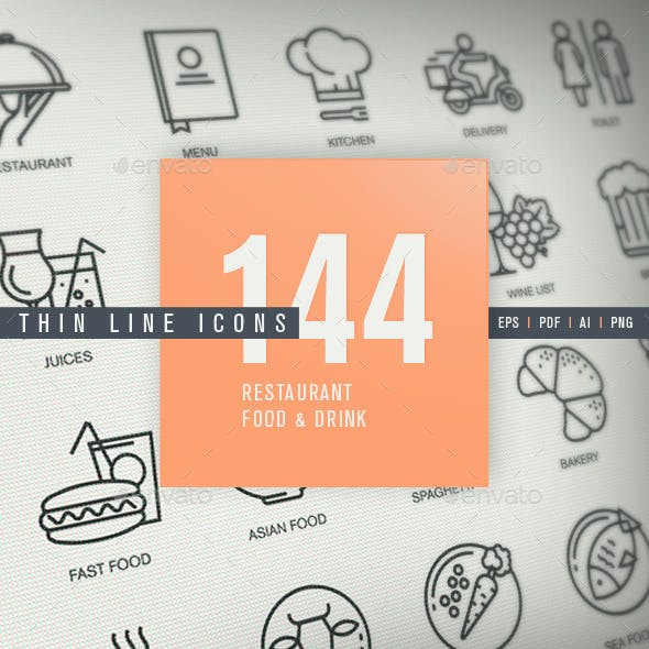 Thin Line Icons for Restaurant, Food & Drink