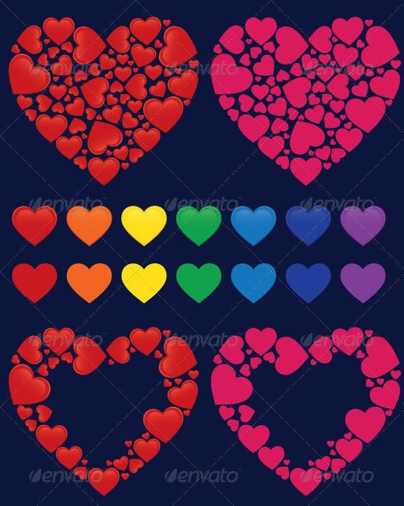 Heart mosaics and frames - Valentines Seasons/Holidays