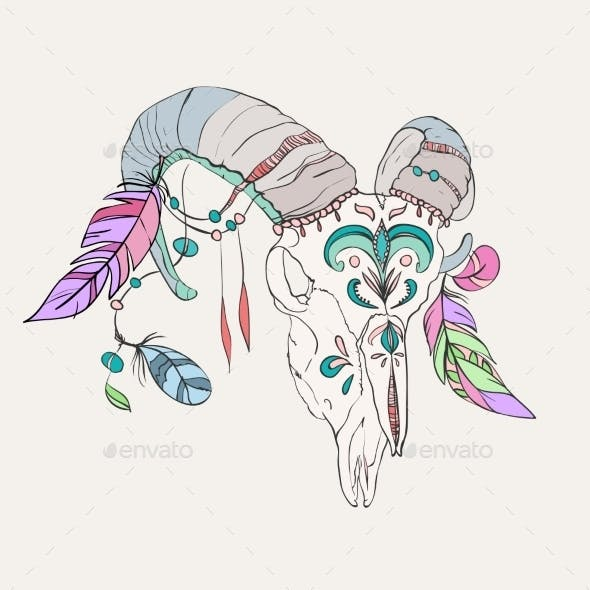 Hand Drawn Ram Skull with Colorful Feathers
