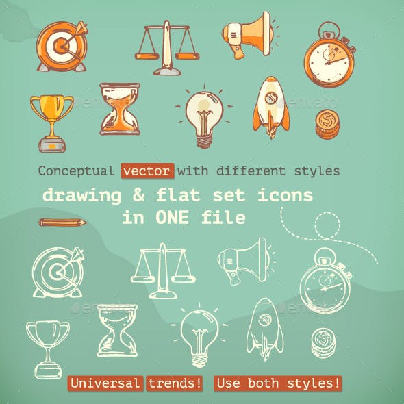 3d and Flat Icons
