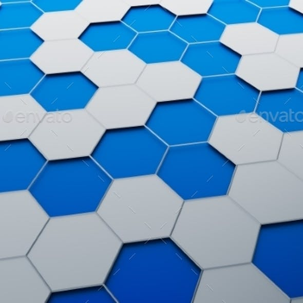 Abstract 3D Rendering Of Surface With Hexagons.