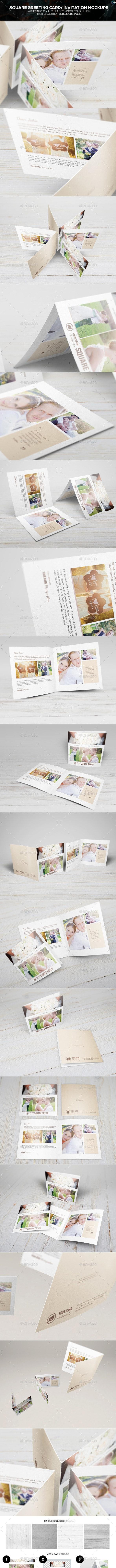 Square Greeting Card - Invitation Mockups - Miscellaneous Print