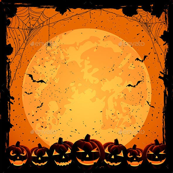 Halloween Background and Pumpkins