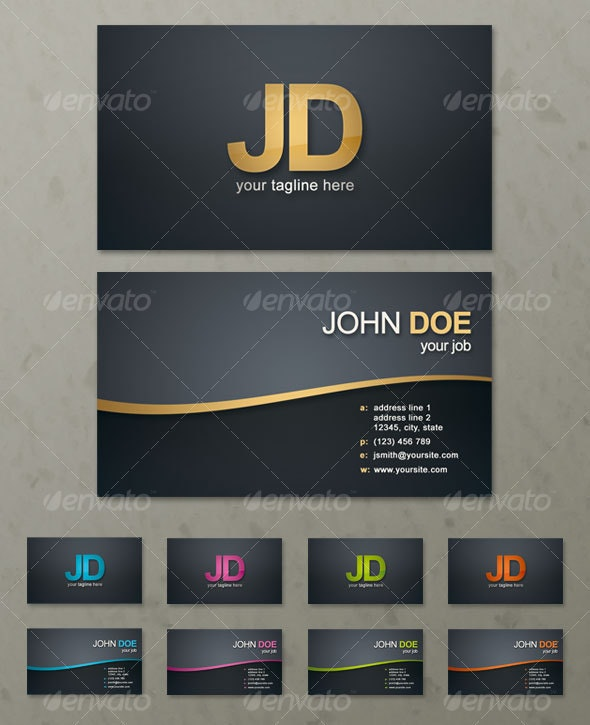 Simple Wave Business Card - Corporate Business Cards