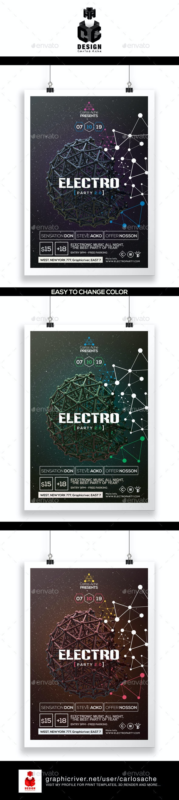 Electro Party Flyer & Poster Template - Clubs & Parties Events