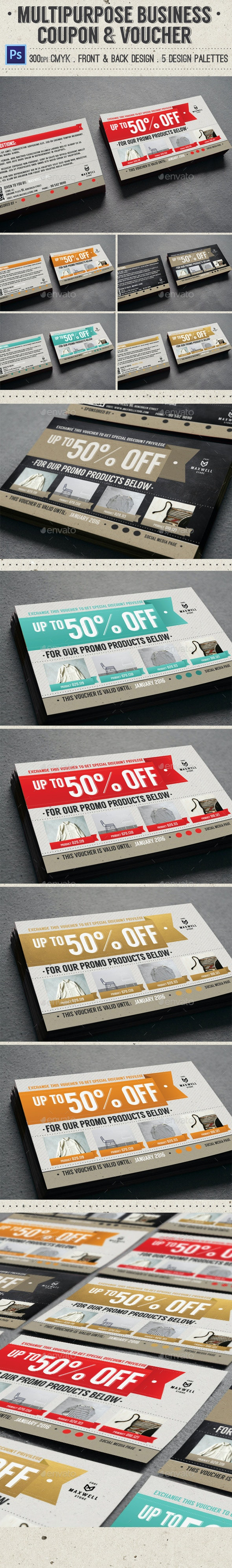 Multipurpose Business Coupon & Voucher - Loyalty Cards Cards & Invites