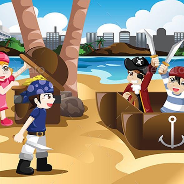 Children Playing as Pirates