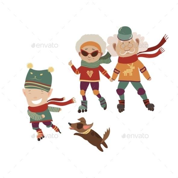 Cartoon Active Grandparents With Grandson