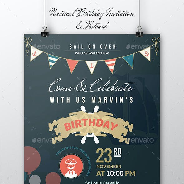 Nautical Birthday Invitation & Postcard