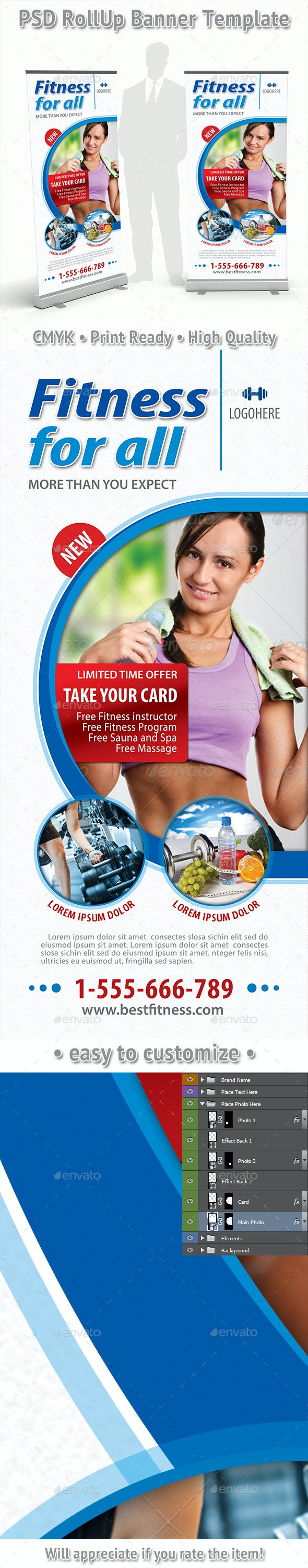 Fitness Program Rollup Banner 64 - Signage Print Templates