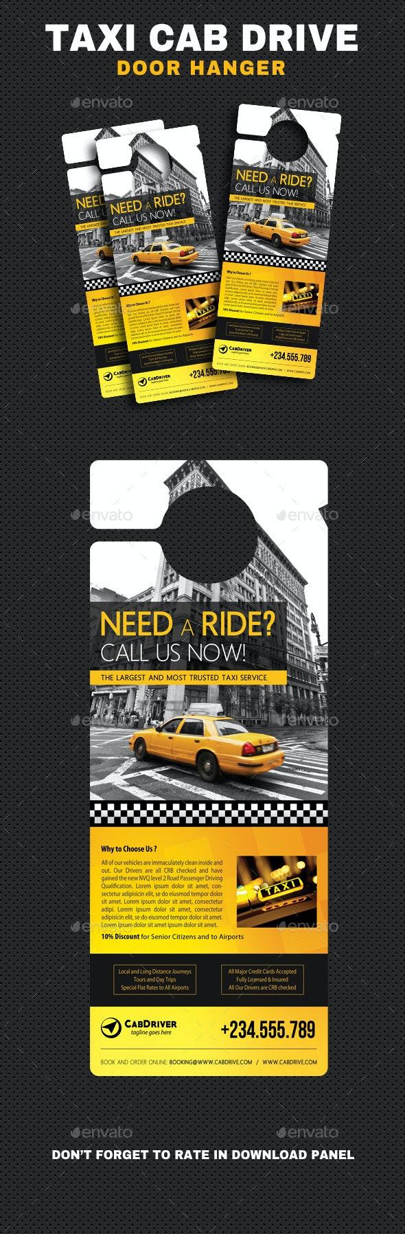 Taxi Cab Drive Door Hanger - Miscellaneous Print Templates