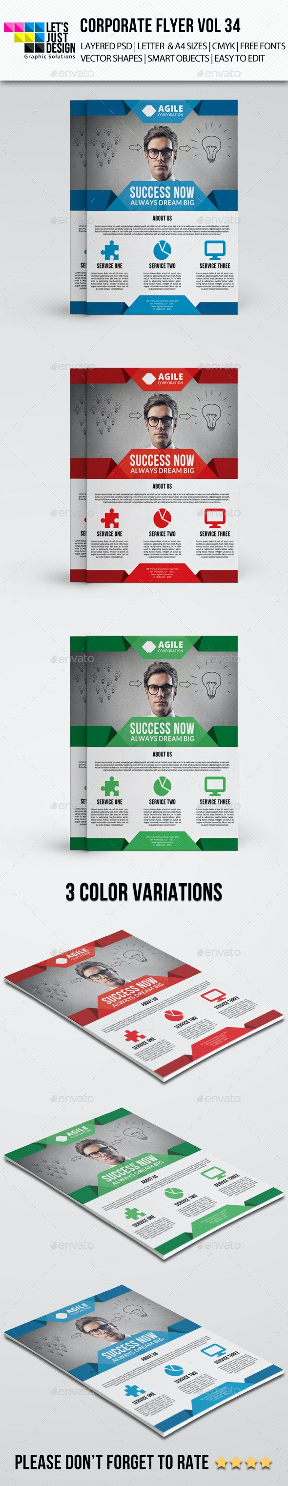 A4 Corporate Flyer Template Vol 34 - Corporate Flyers