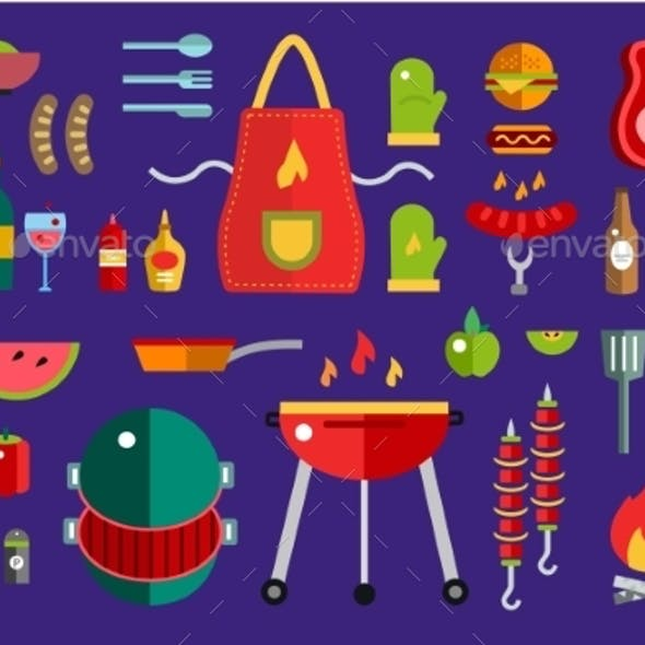 BBQ And Food Icons Vector Set. Outdoor, Kitchen