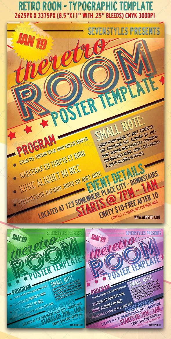RetroRoom Flyer/Poster Template. - Clubs & Parties Events