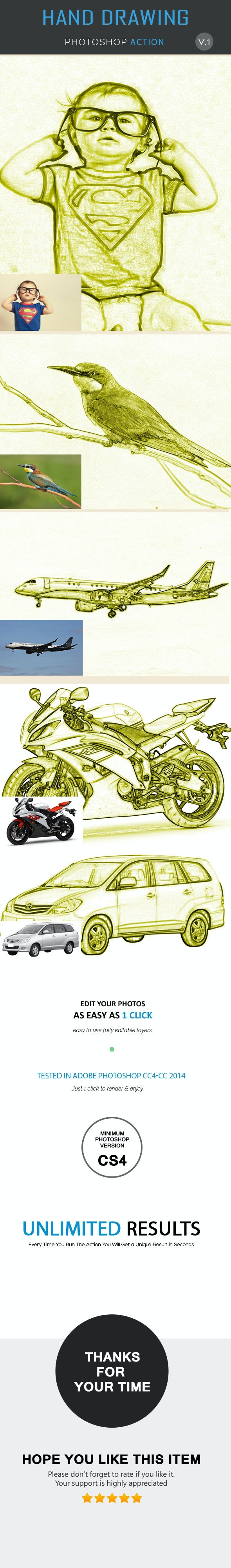 Hand Drawing Photoshop Action - Add-ons