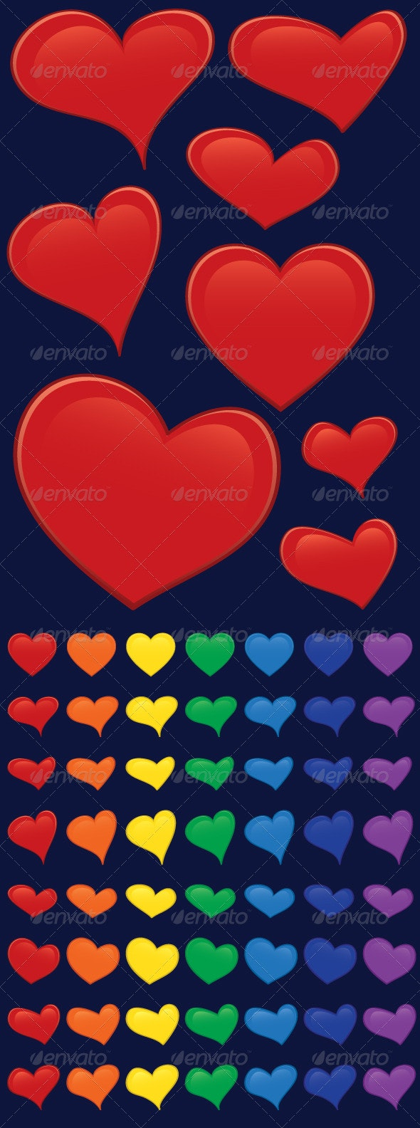 Hearts - 8 shapes and 7 colors - Valentines Seasons/Holidays