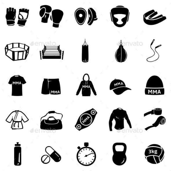 Set of Mix Martial Arts Icons