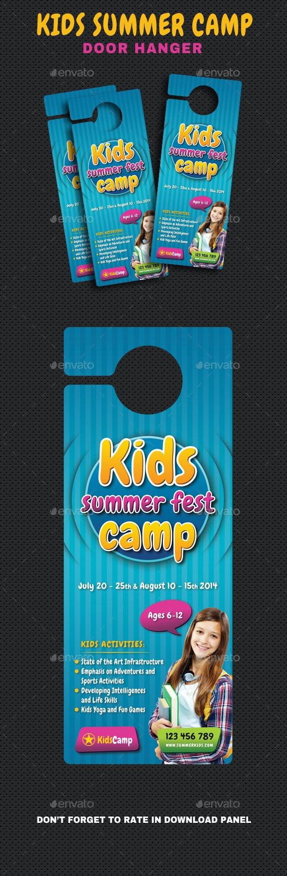 Kids Summer Camp Door Hanger V01 - Miscellaneous Print Templates