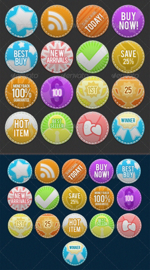 Stitched Fabric Badges - Badges & Stickers Web Elements