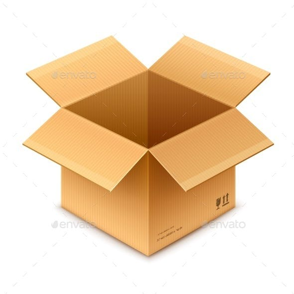 Open Box Cardboard Package Isolated