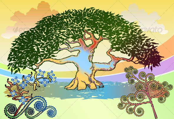 Electric Tree with Clouds and Flourishes - Nature Conceptual