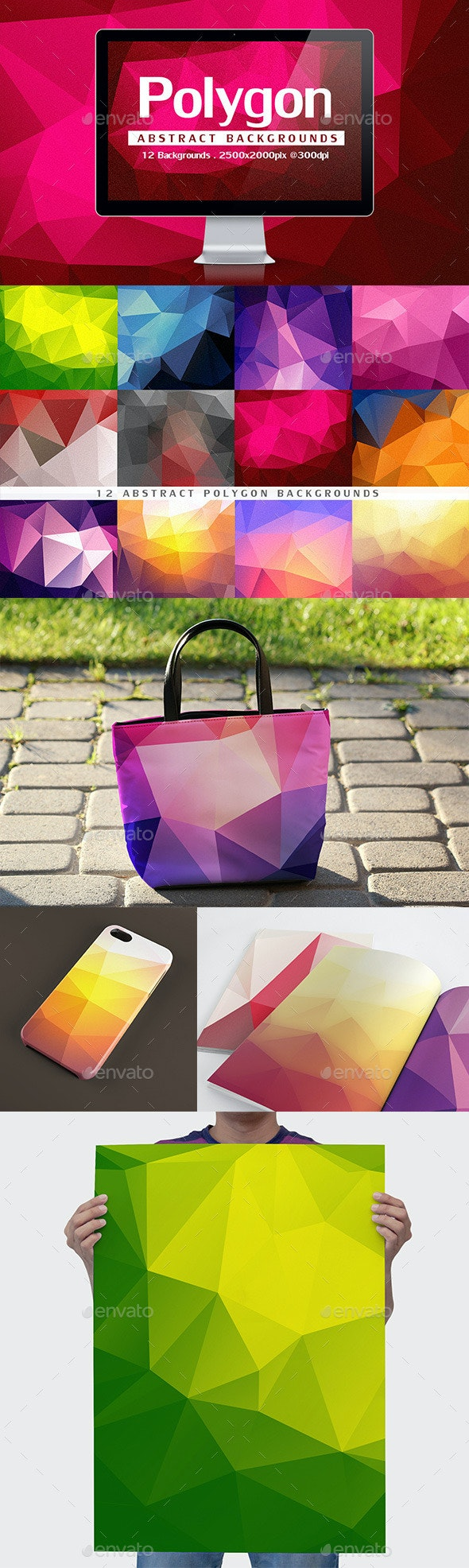12 Abstract Polygon Backgrounds - Backgrounds Graphics